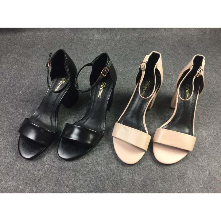 Gentleman/Lady - Summer New Leather Leather Leather One Word With A Sandals Female Middle With Thick With The Foot Ring With A Pair Of Shoes With Thick Sandals(Black)  -  At active footwear de9d5a