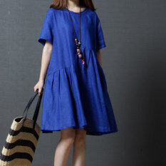 Women S Korean Style Round Neck Solid Color Dress Royal Blue Orange Green