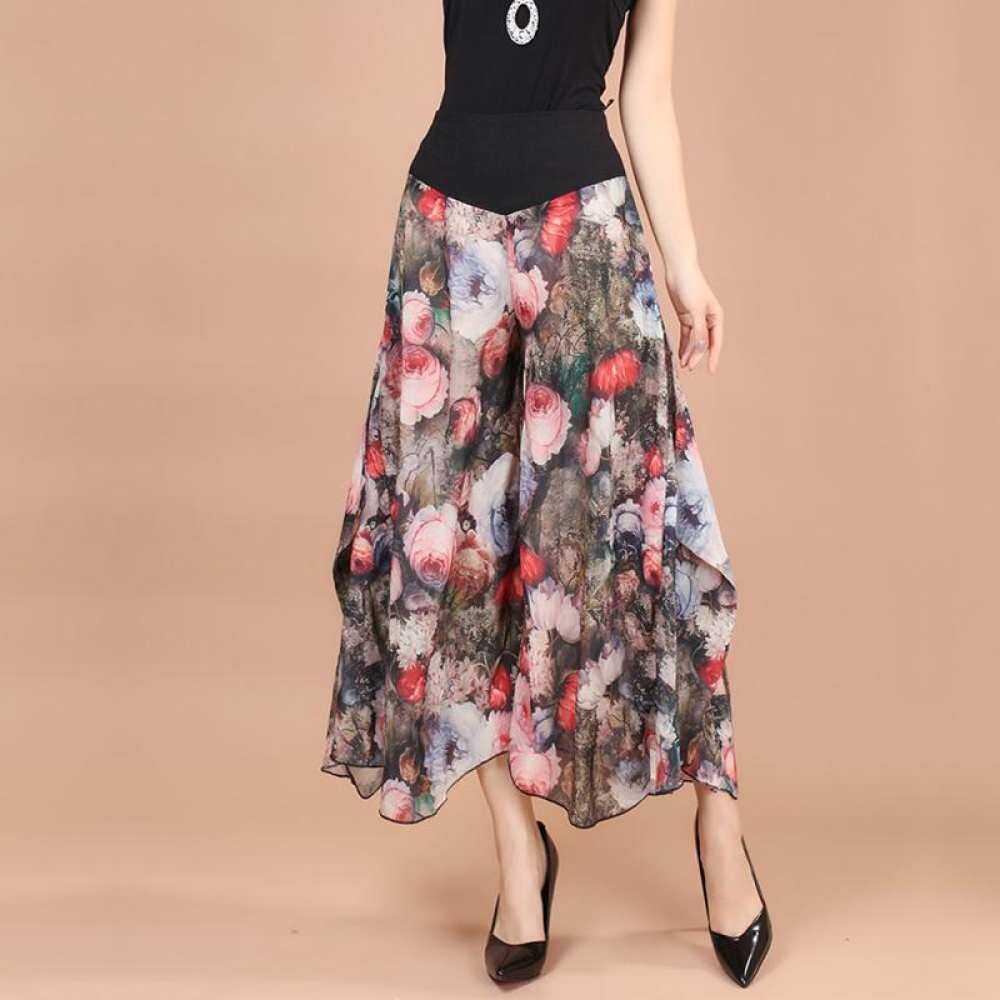 Musim Panas Baru Korea Fashion Style Celana Kulot Wanita Warna Celana Longgar Kulot Sifon Tinggi Celana