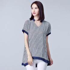 Plus Size Summer Style V-Neck Loose Stripes Women T-Shirt – intl