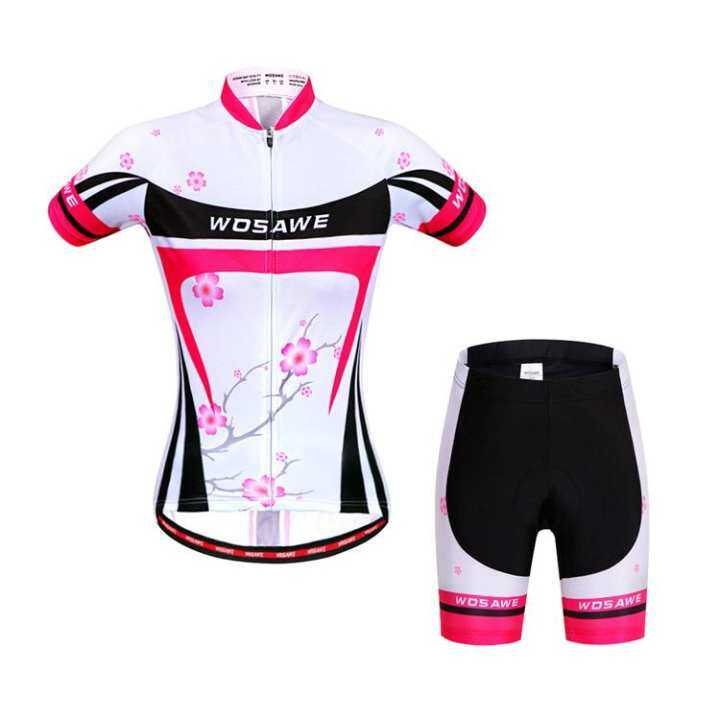 Summer Women Cycling Jersey Set T Shirts Short Sleeve 3D Gel Padded Shorts Biking Bicycle Clothing Reflective Quick Dry
