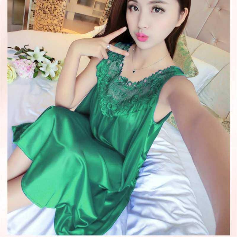 Summer Women Loose Ice Silk Sexy Lace Sleepwear Out Home Wear Leisure Size  Plus Hollow 35c922254