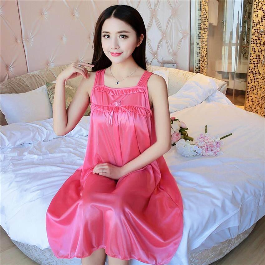 Summer Women Plus Size Loose Ice Silk Bowknot Vintage Dress Sleepwear Home  Leisure Wear (  f84e5cb92
