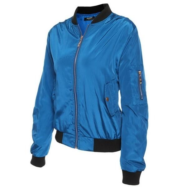 3c4d0dad6 Sunwonder Women Casual Biker Jacket Zip-Up Solid Short Slim Fit Bomber  Jacket(Blue) (/Size:XL)