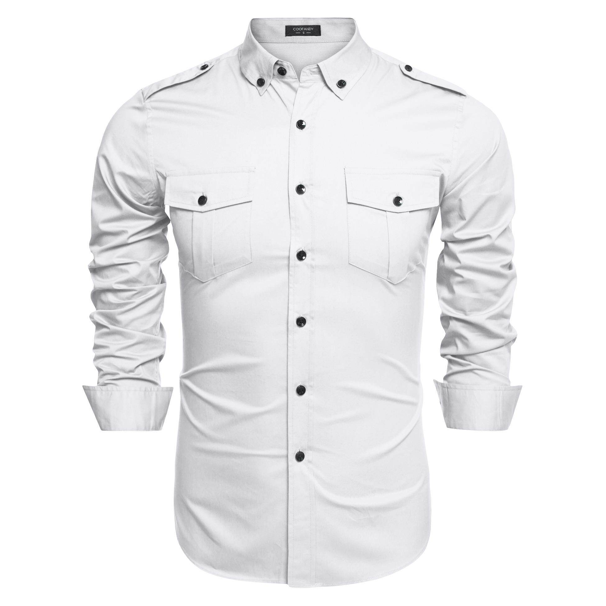 Newly Fashion Style Coofandy Men Slim Fit Turn Down Collar Long Sleeve Dual Pocke Solid Casual Shirt ( White )