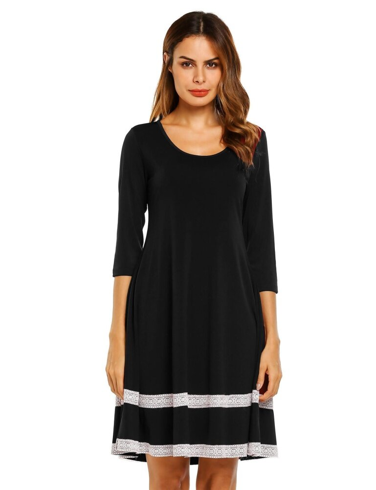 SuperCart Women 3/4 Sleeve Knee Flare Dress Lace Decor Slim Casual Party - intl