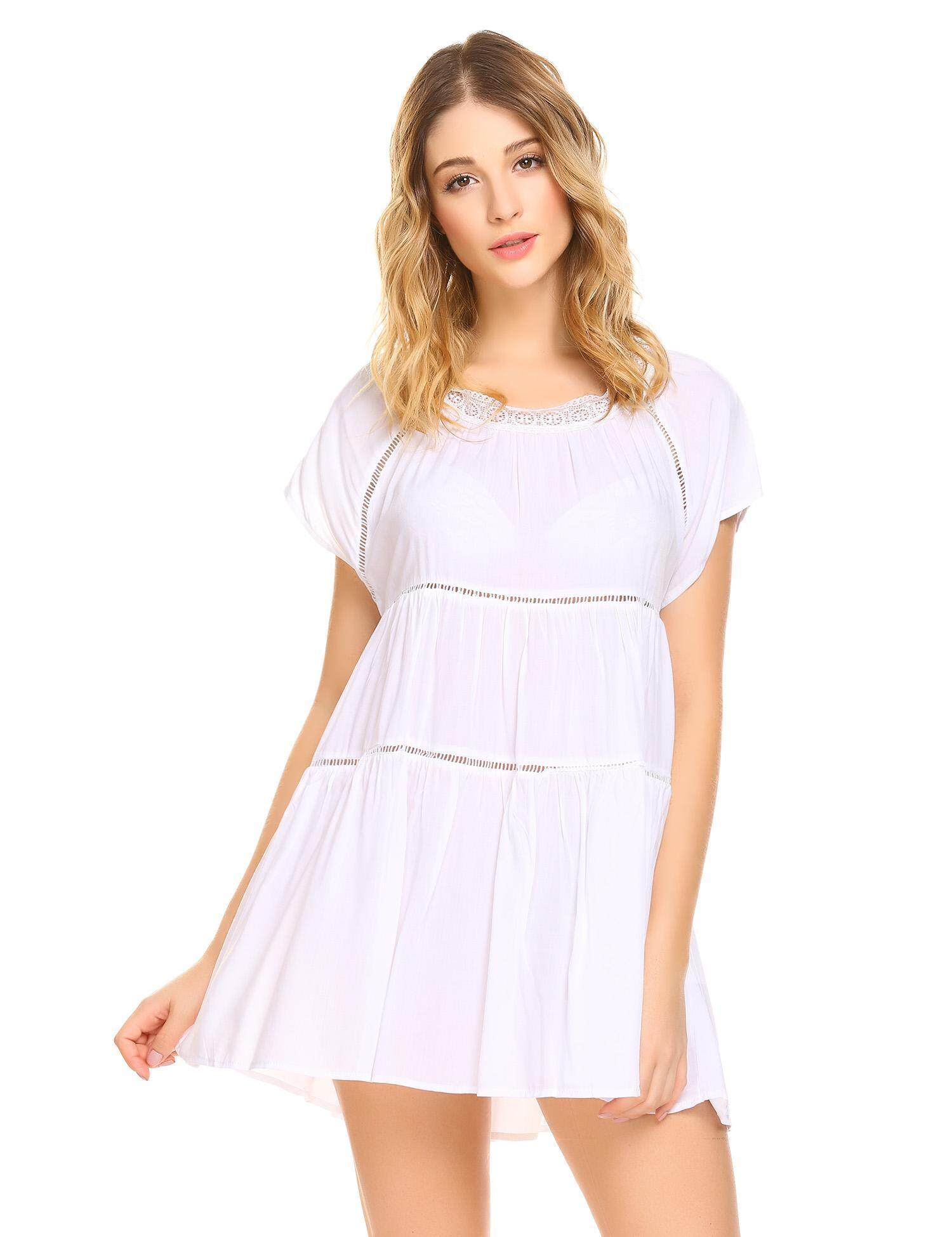 737072a5f156 SuperCart Women Casual O Neck Short Sleeve Lace Patchwork Hollow Out Flare Sleep  Dress ( White