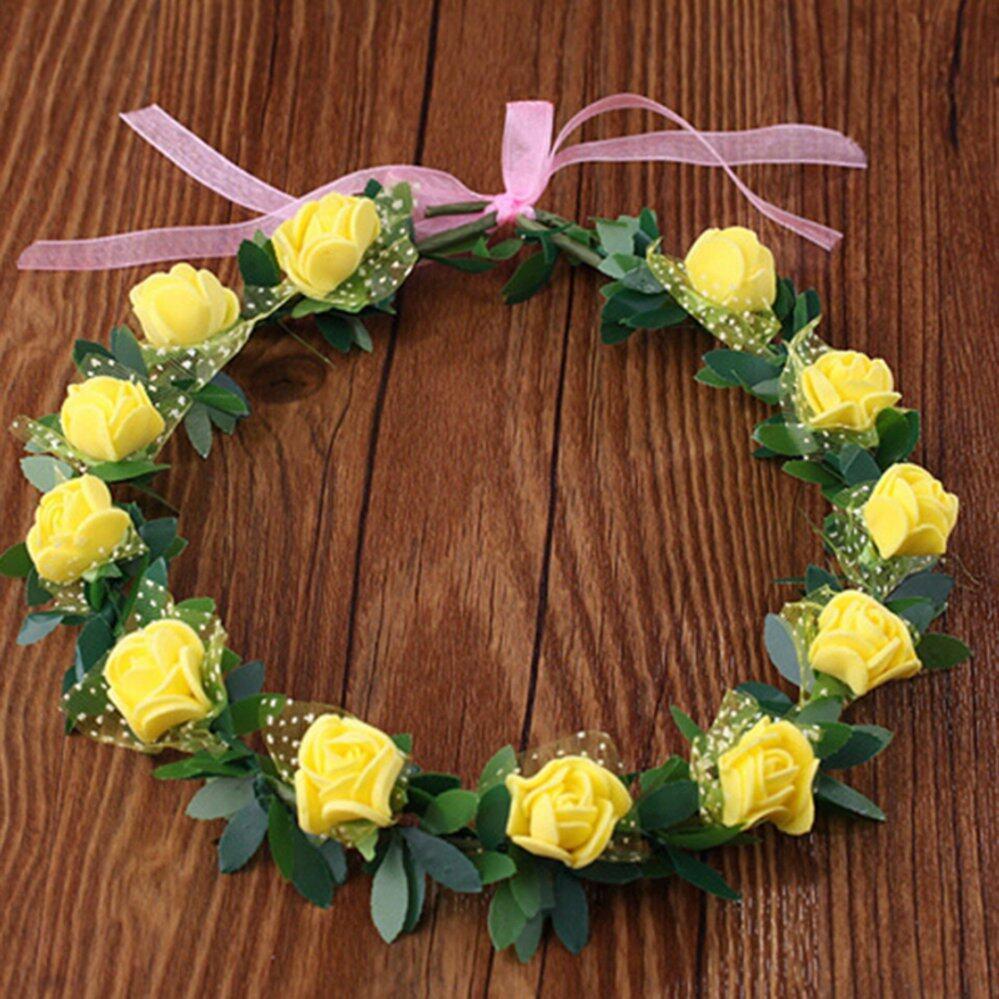 Gadis plastik yang dapat mawar mahkota bunga garland bando hiasan manis gadis wanita pengantin mawar bunga mahkota ikat kepala wreath pesta pernikahan pengantin garland hiasan kepala izmirmasajfo