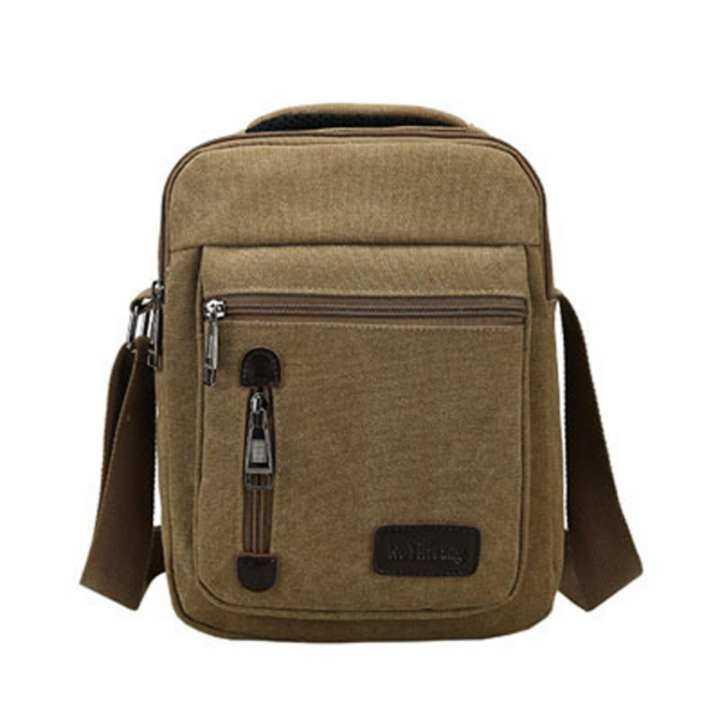 Tas Selempang Pria Kanvas Import Vintage Messenger Crossbody Bag - Khaki 6118916bf7