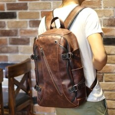 The Original Design Of Crazy Horse Leather Shoulder Bag Retro Old Laptop Backpack Backpack Trend Of Korean Men And Women By A.pang-Boutique Shops.