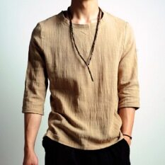 The summer wind loose cotton t-shirt men China Japanese national retro flax five point sleeve cuff