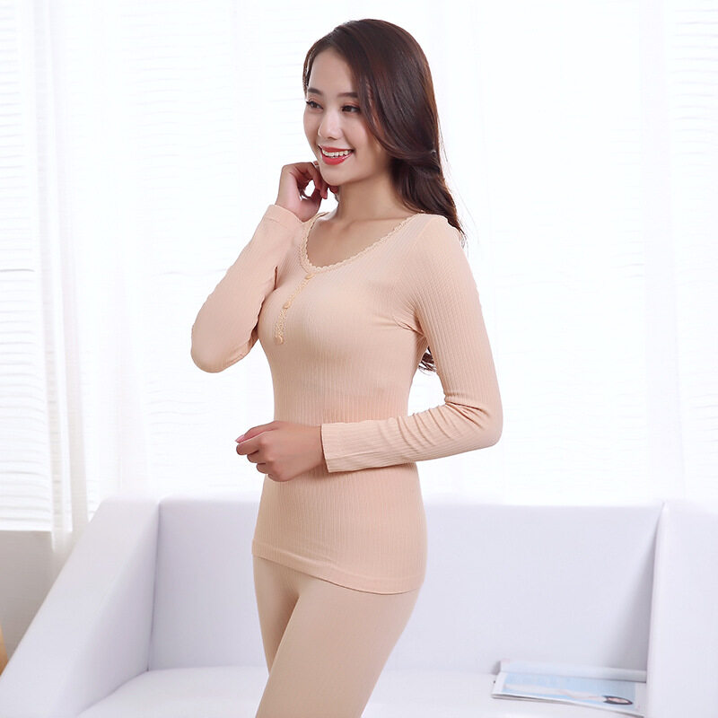 Three-Button O-Neck Ladies Thermal Underwear Sets Autumn Winter Solid Color Soft Warm Thin Long Johns Women Warm Seamless Lace Slim Body Long Thermal Underwear(beige) By Silent Flower Online Store.