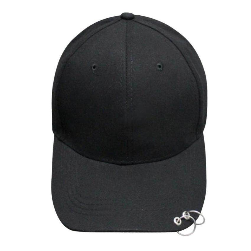 6fb54c1a350 HUADE Fashion Hat Ring Hip Hop Curved Strapback Baseball  Snapbackcap(Black)(Int