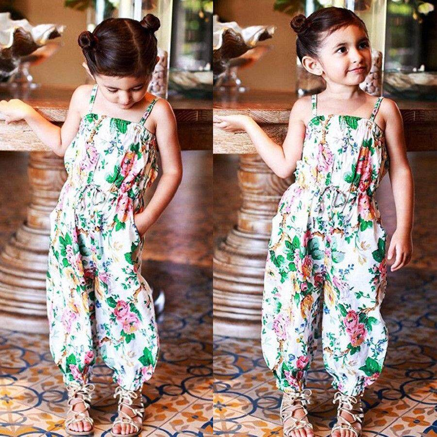 1e81444494 Toddler Girls Kids Summer Floral Overall Romper Jumpsuit Outfit Clothes  2-7Y - intl