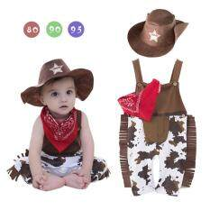 Toddlers Kids Infants Baby Boy Rompers Tassels Trim Strap Jumpsuit + West Cowboy Hat + Triangle Scarf Color:Figure Size:80 yards (3-6 months)