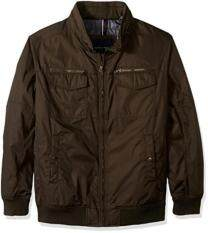 Tommy Hilfiger Men's Big Poly-Twill Two Pocket Performance Bomber Jacket, Army Green, 3X Tall
