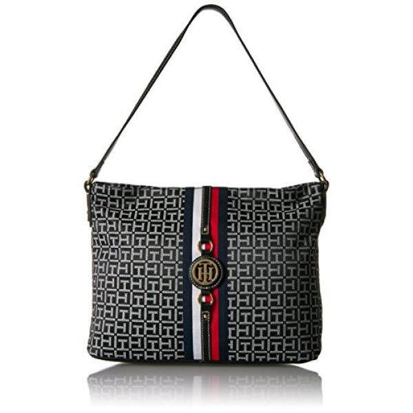 Tommy Hilfiger Purse For Women Jaden Hobo Black White Intl