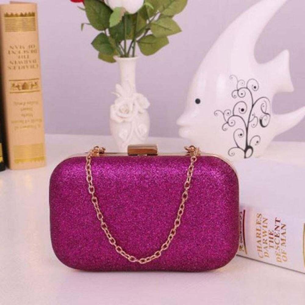 ... Tingkat Teratas Tas Clutch Wanita Fesyen Kotak Pesta Malam Glitter Rantai Tas Tangan Dompet Hot Pink