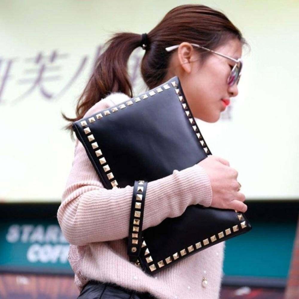 Top rate Rivet envelope bag fashion star style Ladies clutch purses Womenshandbag Clutches evening bags Black and red bolsa feminina