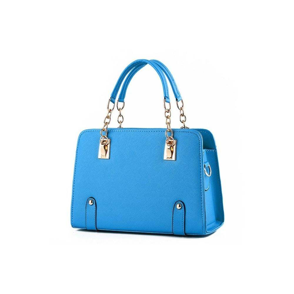 Top rateWomen Handbag Top Handle Bags Cahin Tote Bags PU Leather PursesL16033 (Light Blue)