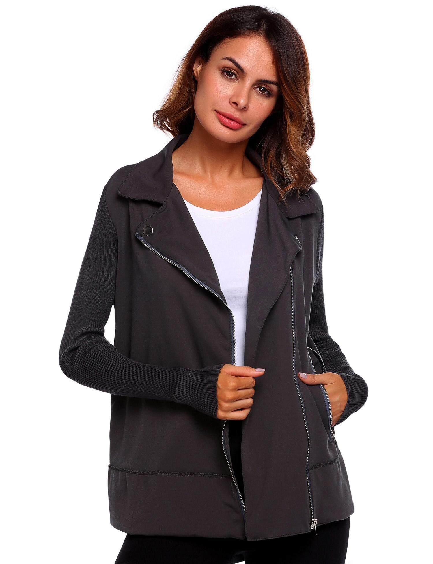Toprank Women Hoodie Long Sleeve Warm Relaxed Fit Zipper Patchwork Knit Jackets ( Grey ) - intl