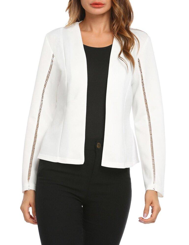 Toprank Wanita Panjang Tanpa Lengan Mata Kait Jaket Blazer Slim OL Bisnis (Putih)-Intl