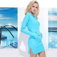 Trendy Women's Long Sleeve UV Protection 2 Pocket Hooded Swimsuit Beachwear Bathingsuit(Blue)
