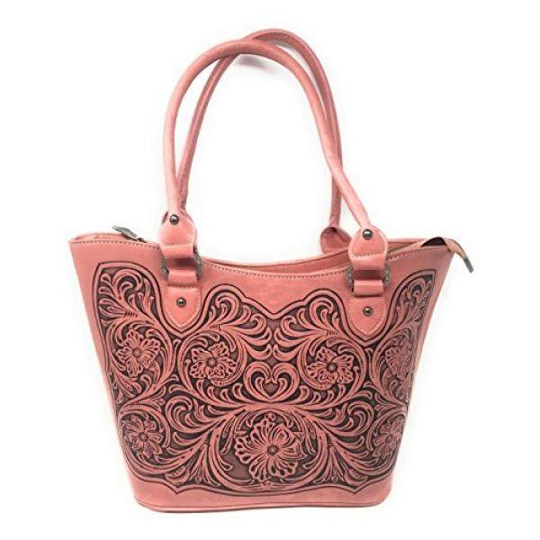 Trinity Ranch Concealed Carry Zip-Top Shoulder Tote w/ Floral Tooled Genuine Leather Handbag Purse For Carrying Your Weapon (Pink) - intl