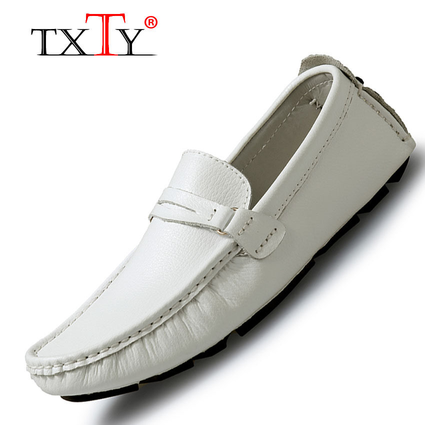 Sale Txty Leather Loafers For Men Shoes Moccasins Spring Mens Footwear Cow Leather Flats Casual Comfortable Driving Shoes White Intl Txty Original