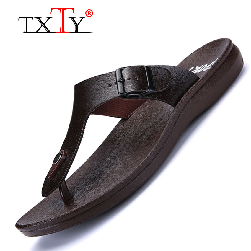 Brand New Txty Summer Men Flip Flops Male Solid Color Slippers Men Casual Leather Eva Shoes Non Slip Fashion Beach Sandals Brown Intl