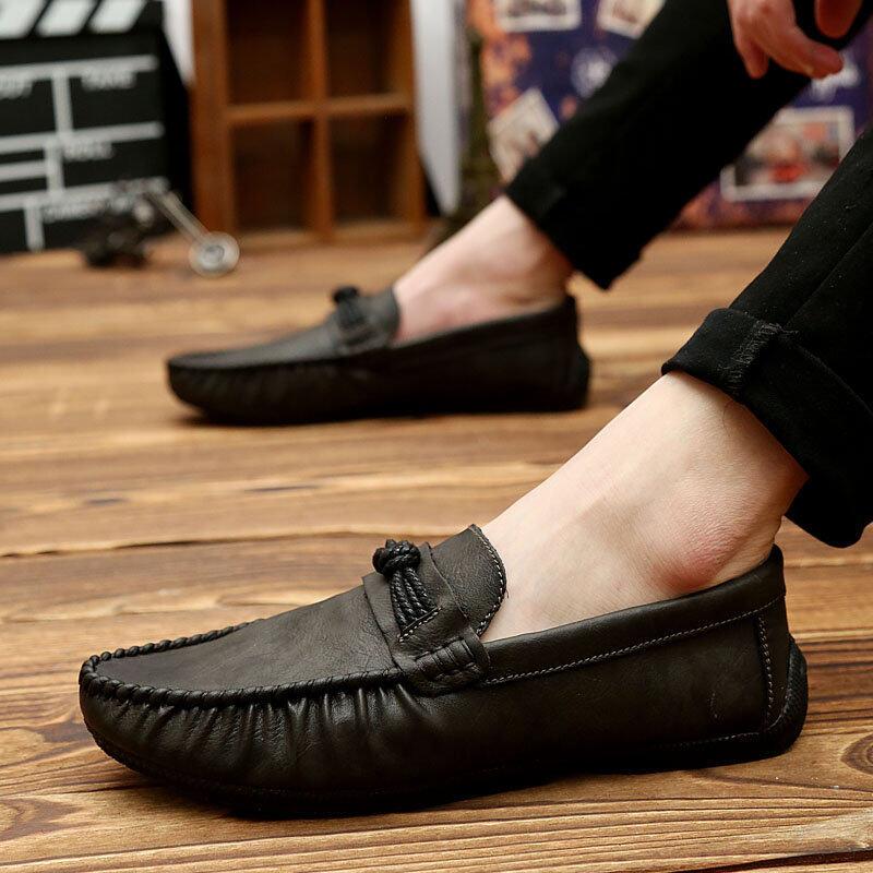 Ucom Kulit Modis Boutique Kacang Polong Sepatu Bernapas Sepatu Kasual Pria Warna Polos Carrefour Sepatu Kaki Pria Sepatu Tren mengemudi Sepatu Kasut Lelaki-Internasional