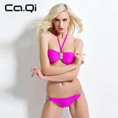 USTORE Trendy Sexy Women Solid Color Lovely Bikini Swimwear Swimsuit Bathing Suit