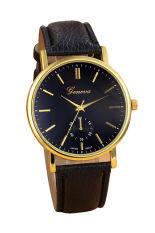 Unisex Leather Band Analog Quartz Vogue WristWatch Watches Black Malaysia