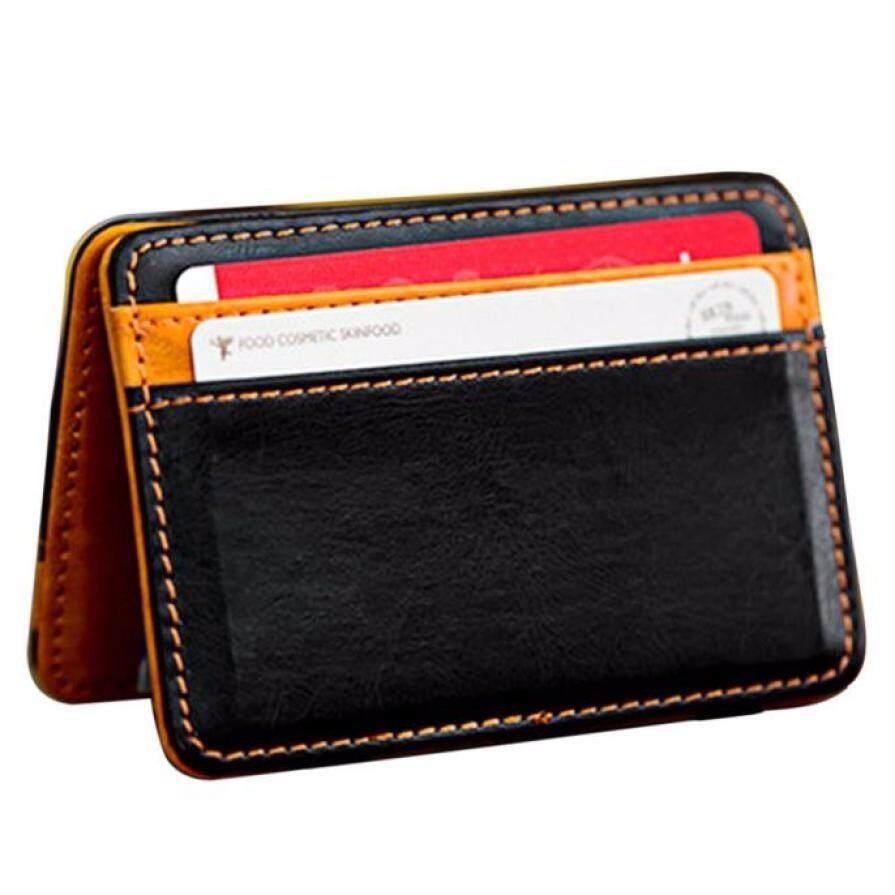 Unisex Women Men's Mini Neutral Magic Bifold Leather Wallet Card Holder Wallet Purse Money Clip Card
