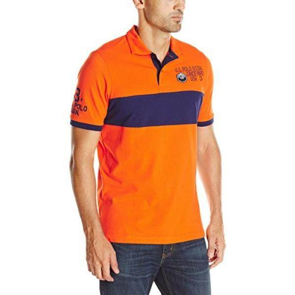 U.S. Polo Assnens Chest Stripe Shirt with Logo Patch, Light House Orange, - intl