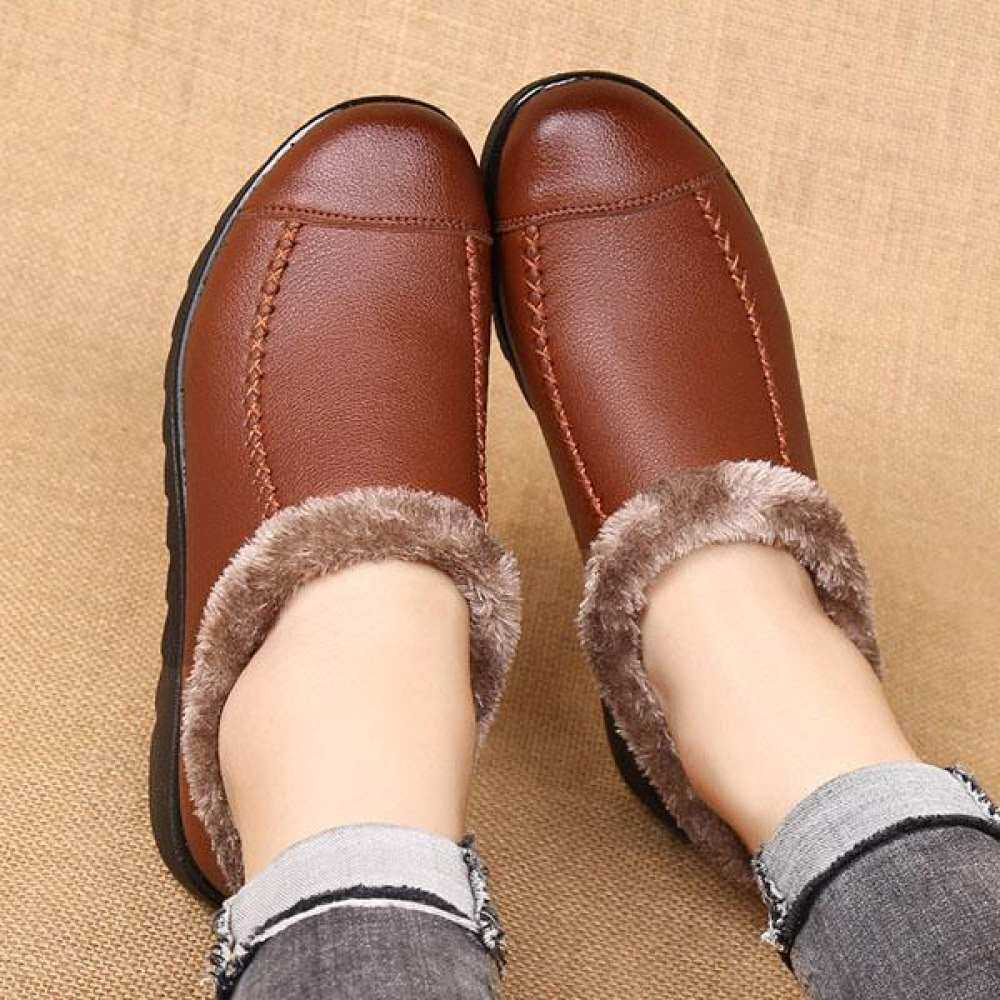 dad1214136737 US Size 5-10 Soft Sole Slip Fur On Casual Shoes Lining Leather