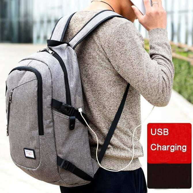 USB Charging Male Canvas Backpacks Fashion College Student School Bag Pack  Large Capacity Travel Backpack for c780baddafe35