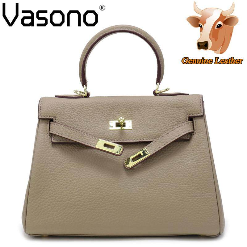 Get The Best Price For 【Vasono】High Quality 100 Genuine Cow Leather Women Top Handle Bag Shoulder Bucket Beg Wanita Intl
