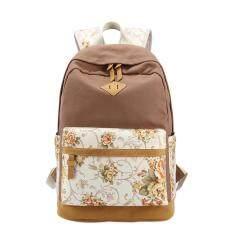 VEECOME Women Flower Print Canvas Backpack Students Korean Style School Bag Girls Leisure Travel Rucksack Color