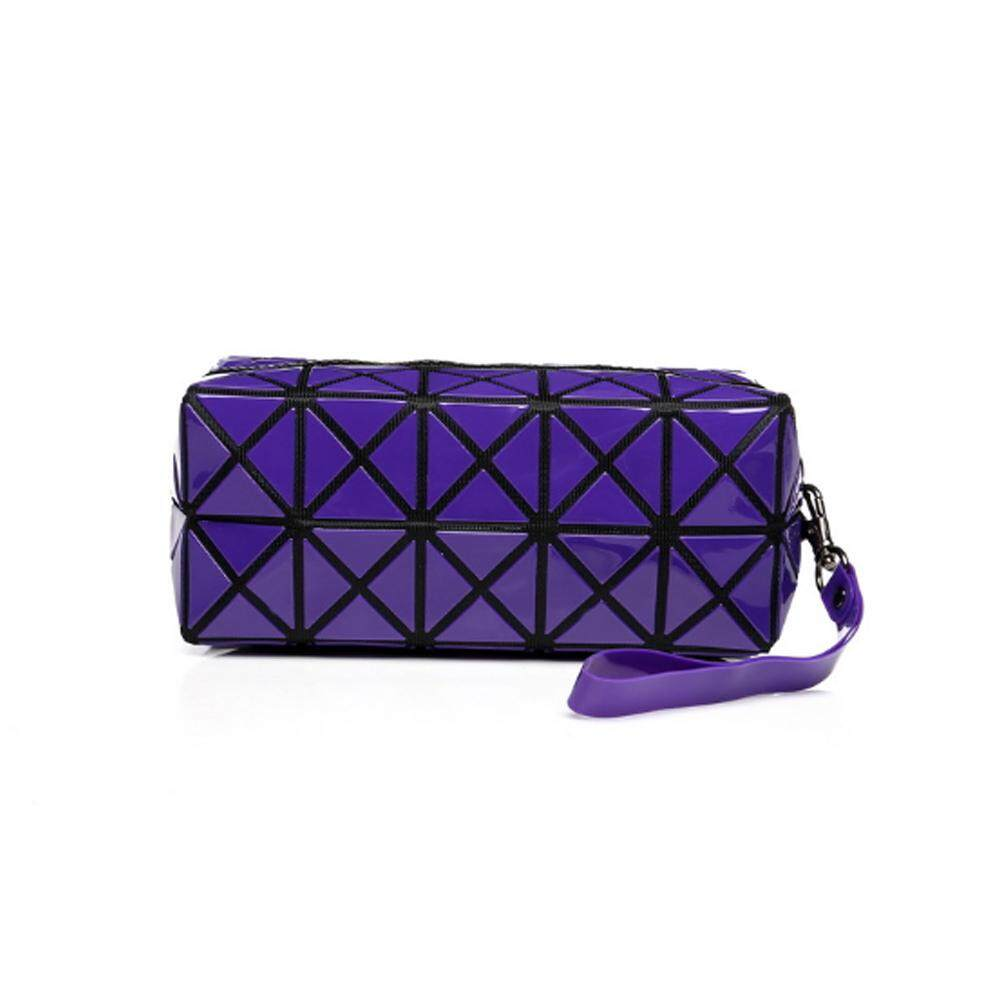 VENFLON Women Geometric Zipper Cosmetic Bag Laser Flash Diamond Leather Makeup Bag Ladies Cosmetics Organizer Handbag
