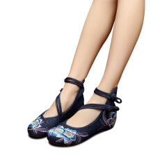 e84878b7db683 Veowalk Cotton Flower Embroidery Women Casual Denim Cloth Flats Shoes Cross  Strap Vintage Chinese Style Ladies Canvas Ballets Blue - intl
