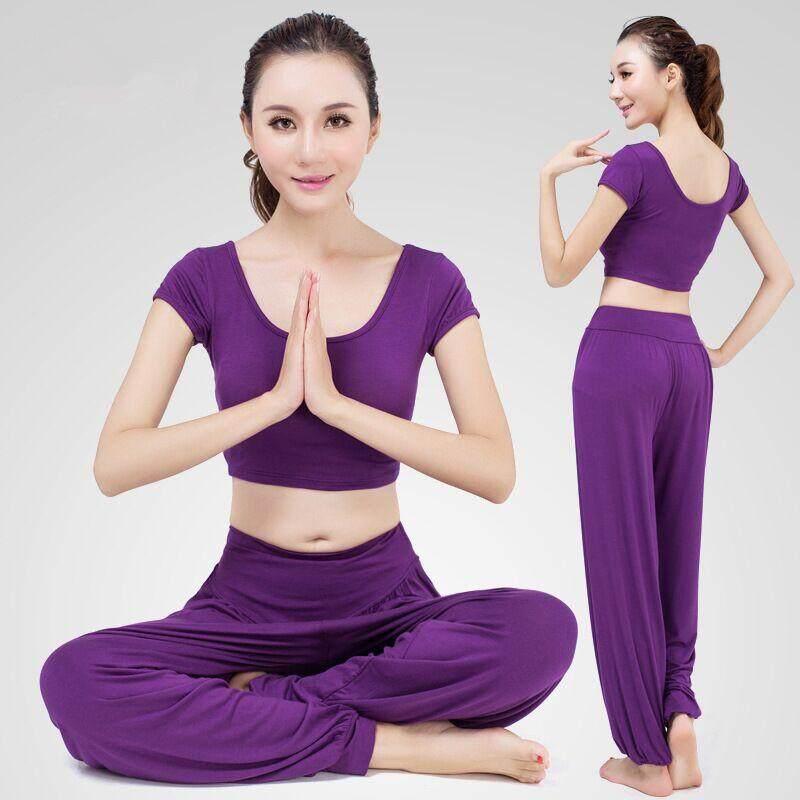 Chiến Thắng MỚI 2 mảnh phù hợp với nữ tay Ngắn quần dài Tập Yoga phù hợp với Thể Thao Thời Trang giải trí Bộ đồ Tập Gym quần Thun lực lượng Nhảy Đầm (Tím)