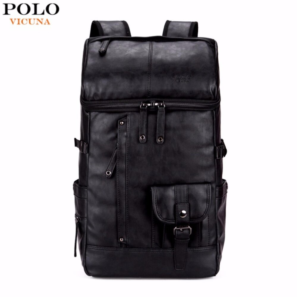 9d2c485c68db VICUNA POLO High Capacity Large Mens Travel Backpack Bag Black Leather Man  Backpack For Trip Laptop