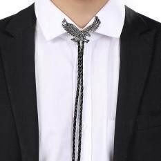 Vintage Alloy Western Cowboy Leather Eagle Bolatie Bolo Tie Necktie Bolotie Black And Silver By Audew.