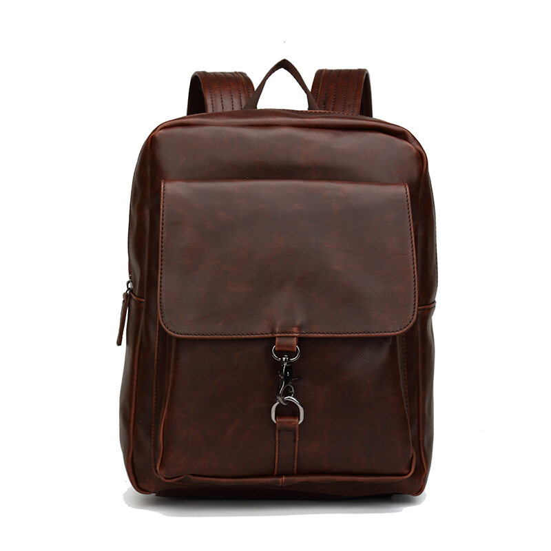 Vintage Fashion Men Bags Casual Genuine Crazy Horse leather Backpack Laptop  Bag Teenagers Backpack Bag Youth 3415a5b7e6351