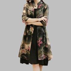 Vintage Floral Printed Women Dress 2 pieces Dresses Suits Korean Style Vestidos Plus size 3XL 4XL – intl