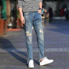 Vintage Mens Ripped Jeans Knee Hole Jeans Distressed Loose Straight Jeans Irregular Cuffs Casual Pants Street Sports Trouser By Mayeffe Goods.