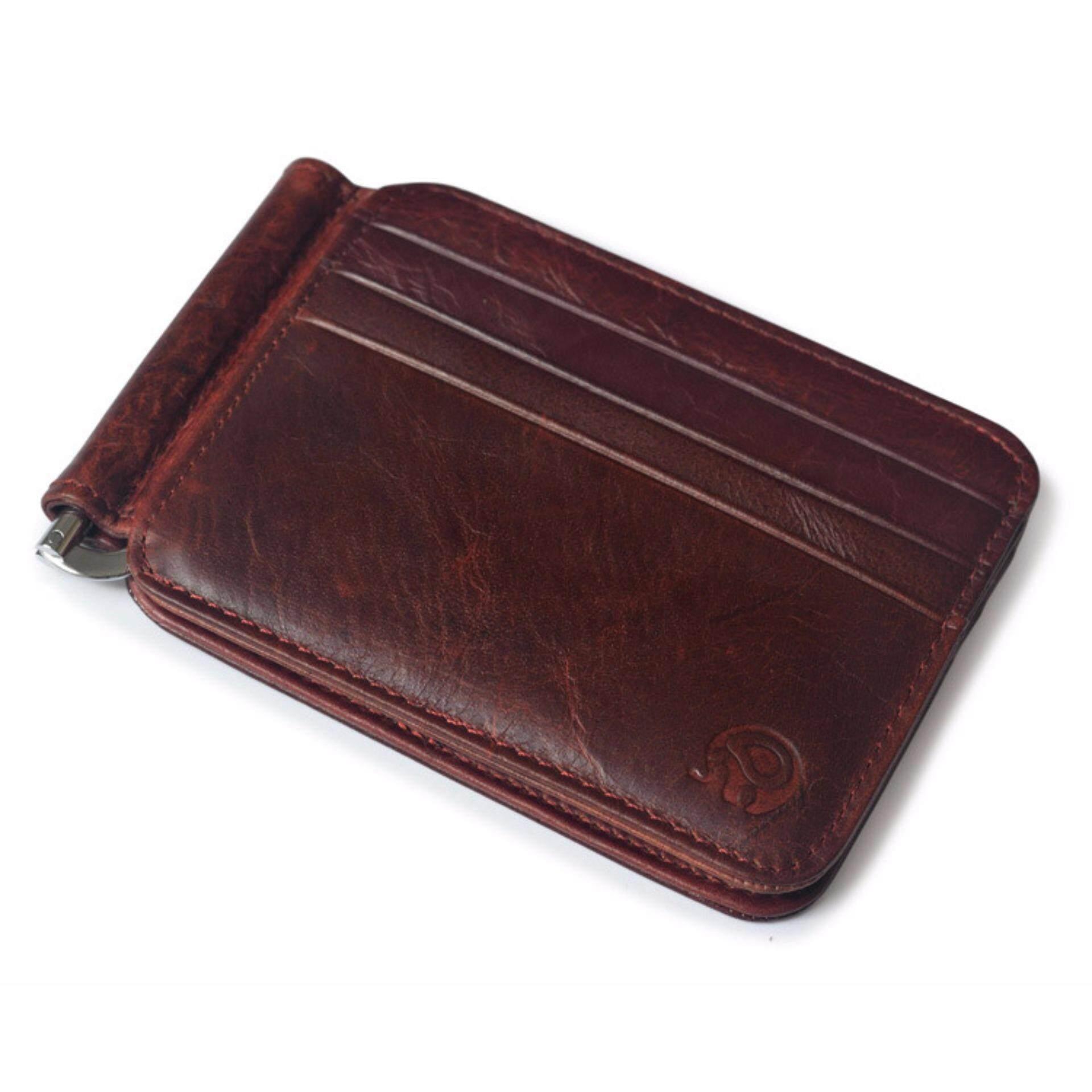 Vintage Money Clip Front Pocket Wallet Slim Minimalist Wallet RFID Blocking Wine Red - intl