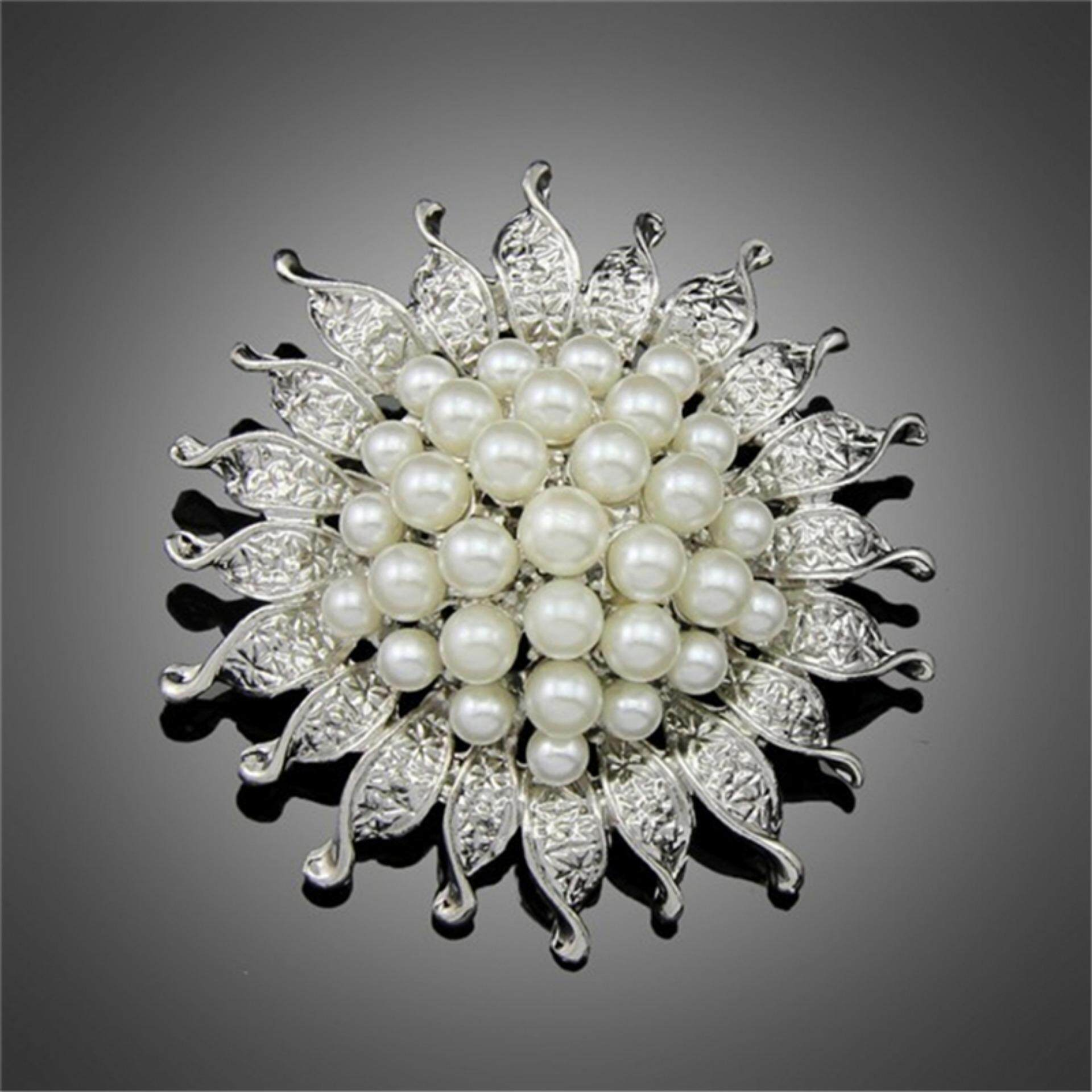 Vintage Silver Plated Imitation Pearl Beads Flower Brooch For Wedding Gift - intl