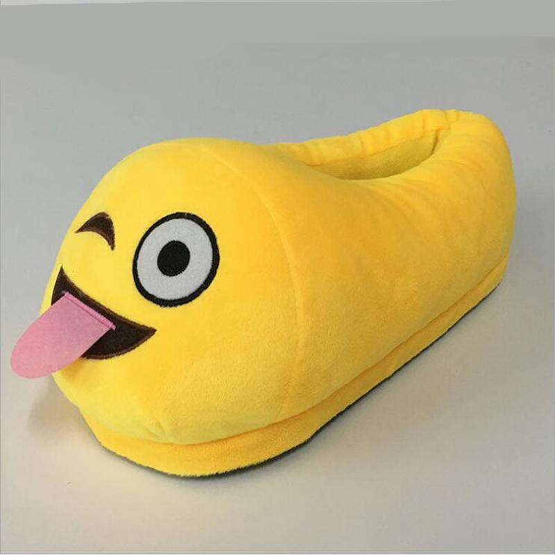 vishine mall-Ladies Kids Men Emoji Slippers Stuffed Winter Home Indoors Padded Flipflop Shoes - intl